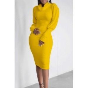 Yellow bodycon dress xxl 14-16